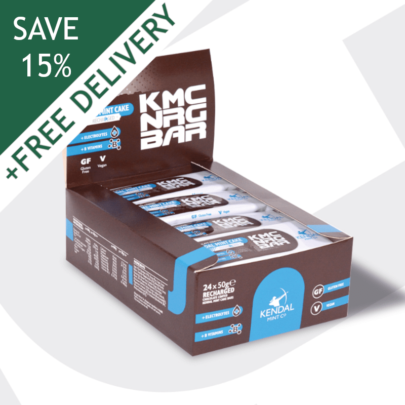 KMC NRG BAR Chocolate Coated Kendal Mint Cake Recharged 50g (Subscribe & Save 15%)